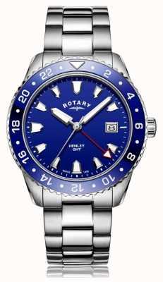 Rotary | gents pulseira de aço inoxidável | mostrador azul | GB05108/05