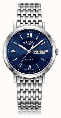 Rotary | gents pulseira de aço inoxidável | mostrador azul | GB05300/66