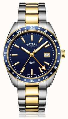 Rotary | mens pulseira bicolor de aço inoxidável | mostrador azul | GB05296/05