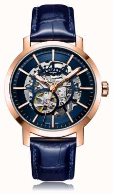 Rotary | gents pulseira de couro azul | caso de ouro rosa | GS05354/05