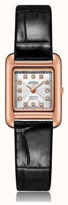 Rotary | pulseira de couro preto senhoras | caso de ouro rosa | LS05289/70/D