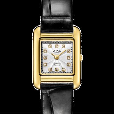 Rotary | pulseira de couro preto senhoras | caixa de ouro | LS05288/70/D