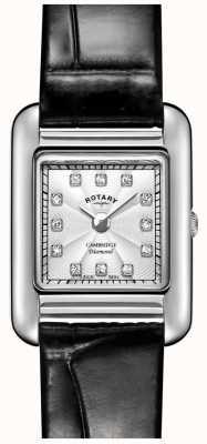 Rotary   senhoras relógio de couro preto   LS05285/70/D
