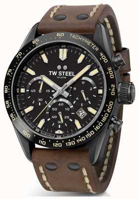 TW Steel | gents pulseira de couro marrom | cronógrafo preto | CHS1