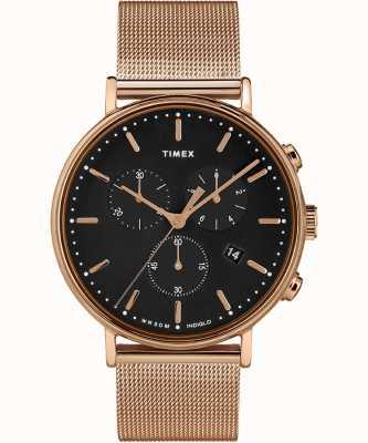 Timex | mostrador preto fairfield chrono | rosa caso tom de ouro | TW2T37100D7PF