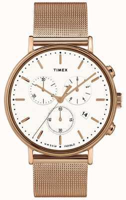 Timex | mostrador branco fairfield chrono | rosa caso tom de ouro | TW2T37200D7PF