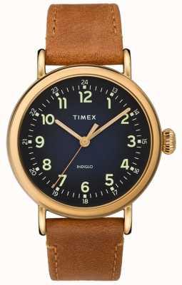 Timex | pulseira de couro bronzeado para homem | mostrador azul | TW2T20000D7PF
