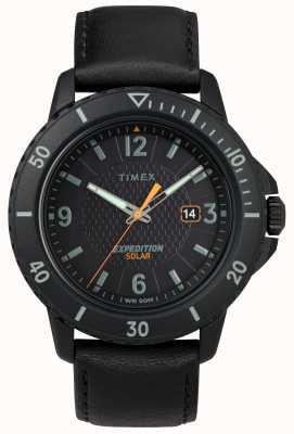 Timex | couro preto solar gallatin | mostrador preto | TW4B14700D7PF