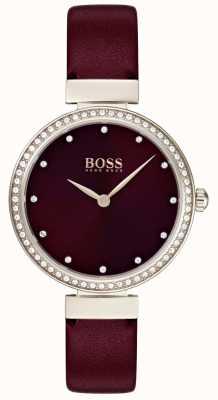 Boss | pulseira de couro senhoras Borgonha | 1502481