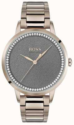 Boss | relógio crepuscular das mulheres | aço inoxidável | mostrador cinza | 1502463