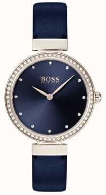Boss | pulseira de couro azul senhoras | mostrador azul | 1502477