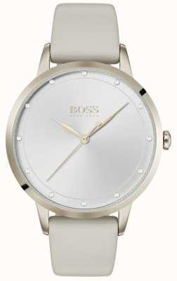 Boss Crepúsculo | pulseira de couro cinza para senhoras | mostrador prateado | 1502461