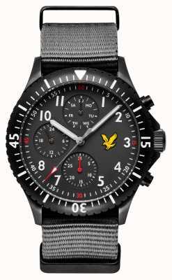Lyle & Scott Mens águia dourada cinza nato pulseira mostrador preto LS-6008-03