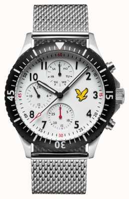 Lyle & Scott Mens águia dourada pulseira de malha de aço inoxidável mostrador branco LS-6008-22