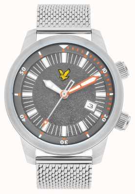 Lyle & Scott Mens pulseira de malha de aço inoxidável borda cinza discar LS-6010-11