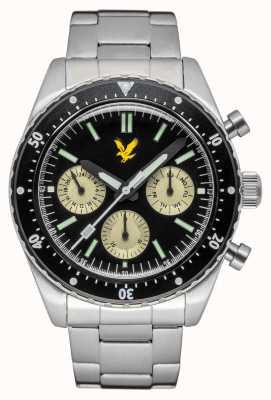 Lyle & Scott Mens highland pulseira de aço inoxidável mostrador preto LS-6011-11