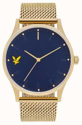 Lyle & Scott Mens esperança se ouro pvd banhado a malha de aço pulseira mostrador azul LS-6013-44