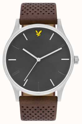 Lyle & Scott Mens espero le marrom pulseira de couro cinza discar LS-6014-01