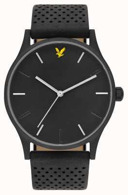 Lyle & Scott Mens espero le pulseira de couro preto mostrador preto LS-6014-02