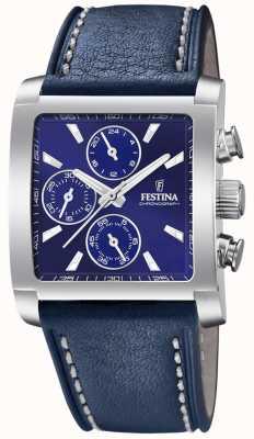 Festina | cronógrafo de aço inoxidável mens | pulseira de couro azul | F20424/2