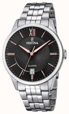 Festina | pulseira de aço inoxidável mens | mostrador preto / rosa | F20425/6