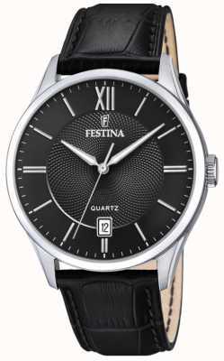 Festina | aço inoxidável mens | pulseira de couro preto | mostrador preto | F20426/3