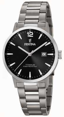 Festina   mens relógio de titânio   mostrador preto   pulseira de titânio   F20435/3