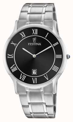 Festina   aço inoxidável mens   mostrador preto   pulseira de aço   F6867/3
