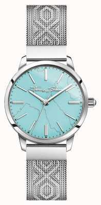Thomas Sabo | aço inoxidável feminino | mostrador turquesa | pulseira de malha | WA0343-201-215-33
