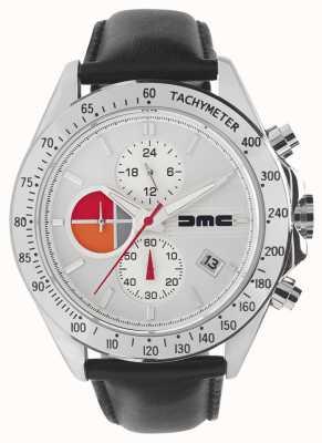 DeLorean Motor Company Watches Couro de prata 1981 | mostrador prateado | couro preto | DMC-7