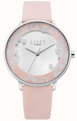 Lipsy | pulseira de couro rosa para mulher | discagem sunray prata | LP658