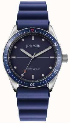 Jack Wills | baía do moinho dos homens | pulseira de borracha azul | mostrador azul | JW015RBBL