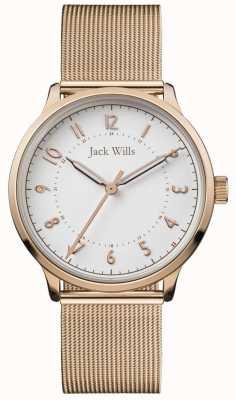 Jack Wills | conhecimento das mulheres | malha de ouro rosa | mostrador branco | JW017WHRS
