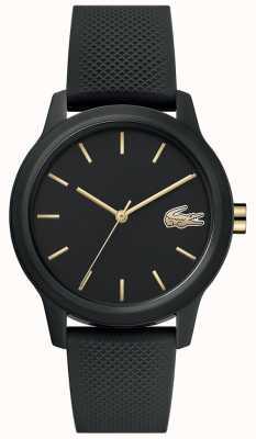 Lacoste | mulheres 12-12 | pulseira de silicone preta | mostrador preto | 2001064