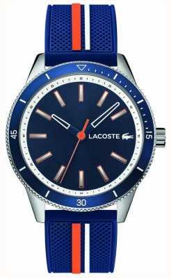Lacoste | mens key west | pulseira de silicone azul | mostrador azul | 2011007