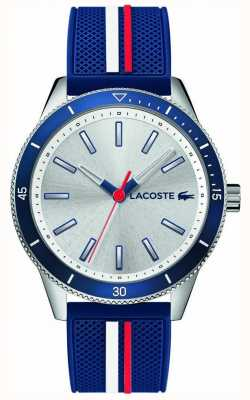 Lacoste | mens key west | pulseira de silicone azul | mostrador prateado | 2011006