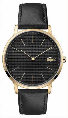 Lacoste | lua dos homens | pulseira de couro preto | mostrador preto | 2011004