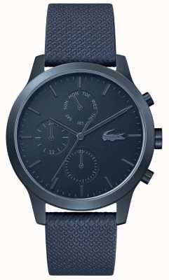 Lacoste | 12-12 homens | pulseira de couro azul | mostrador azul | 2010998