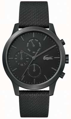 Lacoste | mens 12-12 | pulseira de couro preto | mostrador preto | 2010997