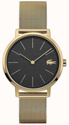 Lacoste | lua das mulheres | pulseira de malha banhada a ouro | mostrador preto | 2001073