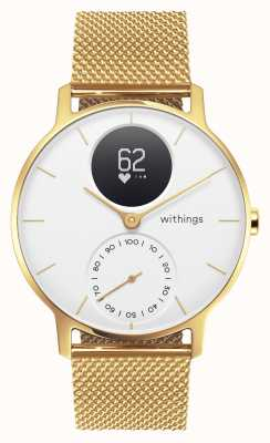 Withings Aço hr 36 milímetros edição limitada milanese de ouro (+ pulseira de borracha) HWA03B-36WHT-GOLD-MESH GOLD-ALL-INT
