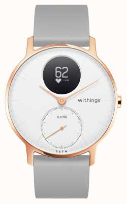 Withings Aço hr 36mm rosa ouro branco discagem pulseira de silicone cinza HWA03B-36WHITE-RG-S.GREY-ALL-INTER