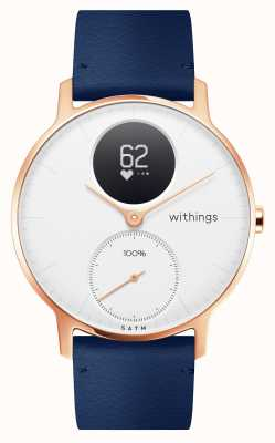 Withings Aço hr 36mm couro azul ouro rosa (+ pulseira de silicone cinza) HWA03B-36WHITE-RG-L.BLUE-ALL-INTER