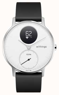 Withings Aço hr 36mm branco mostrador preto pulseira de silicone HWA03B-36WHITE-ALL-INTER