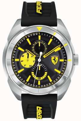 Scuderia Ferrari | mens forza | pulseira de borracha preta | mostrador preto / amarelo | 0830575