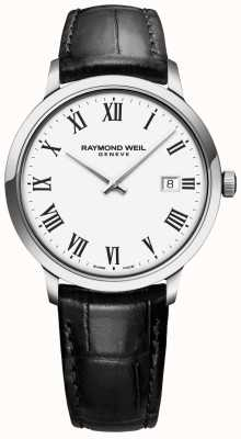 Raymond Weil | mens toccata | pulseira de couro preto | mostrador branco | 5485-STC-00300