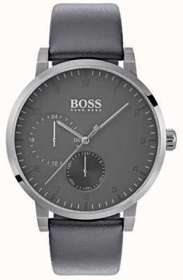 Boss Cinza de couro cinza oxigênio mens cinta de discagem 1513595