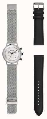 Breil | gents relógio de malha de aço inoxidável | alça de couro extra | TW1806