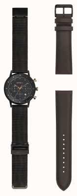 Breil | gents stainlss preto relógio de malha de aço | pulseira substituível | TW1808