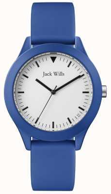 Jack Wills | gents pulseira de borracha azul | mostrador branco | JW009BTBL